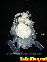 Свадебная большая бутоньерка белая
