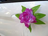 Фиолетовые цветы на ручки свадебной машины 4 шт/уп