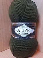 Полушерстяная пряжа (49%-шерсть,51%-акрил,100г/240м) Alize Lanagold 214(оливковый зелёный)