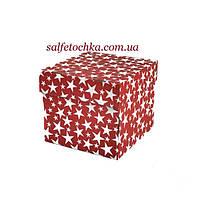 Картонная коробка 19*19*17 см. красная со звёздами