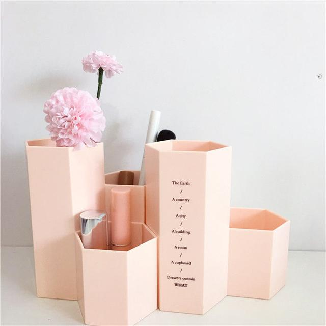 Органайзер для карандашей и косметики светло-розовый