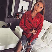 Женская стильная куртка косуха из эко-кожи, фото 1