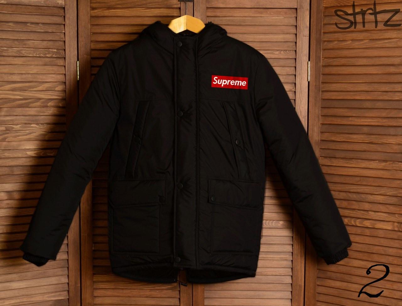07c2b25e4a0 Зимняя Мужская Теплая Куртка-Парка Supreme Мужские Черные Куртки Зимние  Суприм