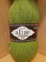 Полушерстяная пряжа (49%-шерсть,51%-акрил,100г/390м) Lanagold fine 193(фисташка)