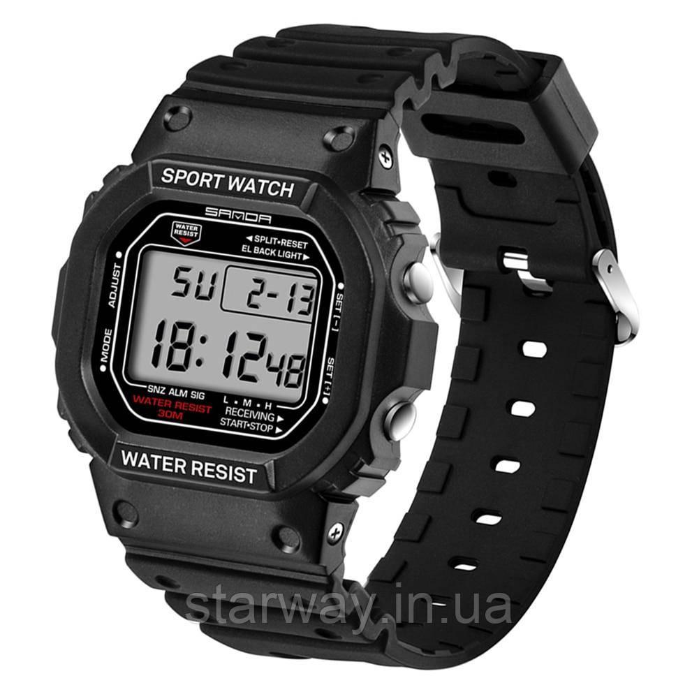 Спортивные чёрные наручные часы Sport SANDA водонепроницаемый
