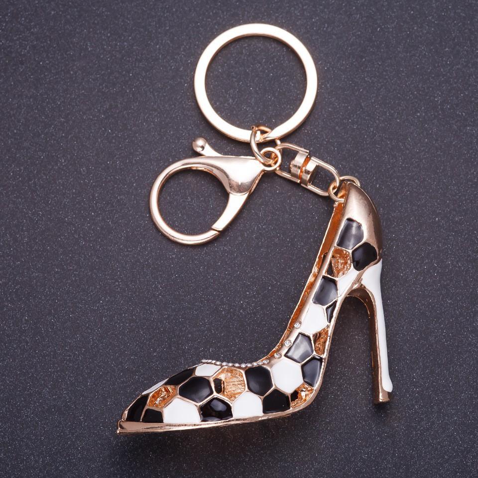"""Брелок """" Черная туфелька"""" 8х5см цвет металла золото, эмаль"""