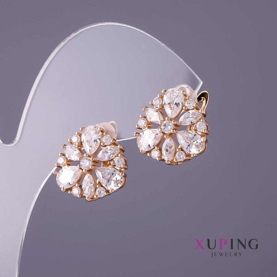 Серьги Xuping белые камни d- 14мм L-14мм цвет золото