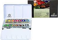 Набор акварельных красок REMBRANDT DeLuxe 12 кювет + кисть в металлическом пенале 05838611