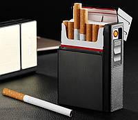 Портсигар на 20 сигарет с зажигалкой usb  цвет  золото