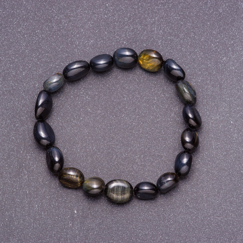 Браслет из натурального камня Соколиный глаз галтовка d-8 мм (+-) на резинке обхват 18см