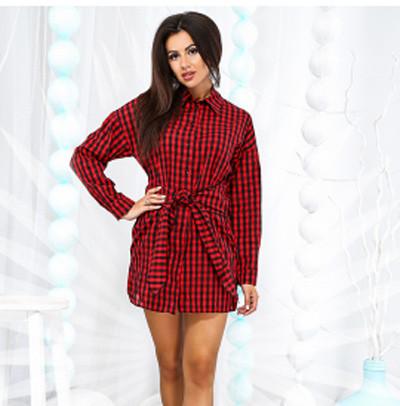 7c3e7a5d157 Купить Модное женское платье-рубашка в клетку 822844 Украина ...