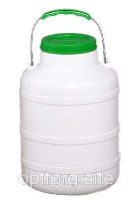 Фляга пластмассовая пищевая 10 л горловина 104 мм Лемира