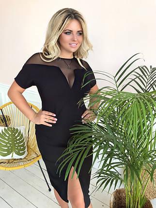 """Элегантное силуэтное миди-платье """"Sharon"""" с разрезом и коротким рукавом (большие размеры), фото 2"""