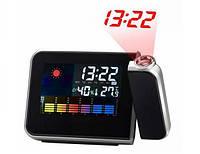 Многофункциональные часы-метеостанция с будильником и проектором времени с ЖК экраном, фото 1