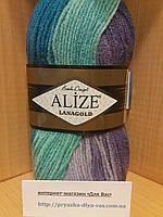 Полушерстяная пряжа (100г/240м, 49%-шерсть, 51%-акрил) Alize Lanagold Batik 3927