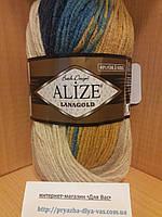 Полушерстяная пряжа (100г/240м, 49%-шерсть, 51%-акрил) Alize Lanagold Batik 6378