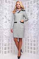 Тепле повсякденне плаття з щільної ангори з кишенями 50-54 розміру світло-сіре, фото 1