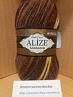 Полушерстяная пряжа (100г/240м, 49%-шерсть, 51%-акрил) Alize Lanagold Batik 1732
