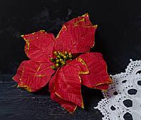 Головка пуансетии красной в блестках ткань большая к25