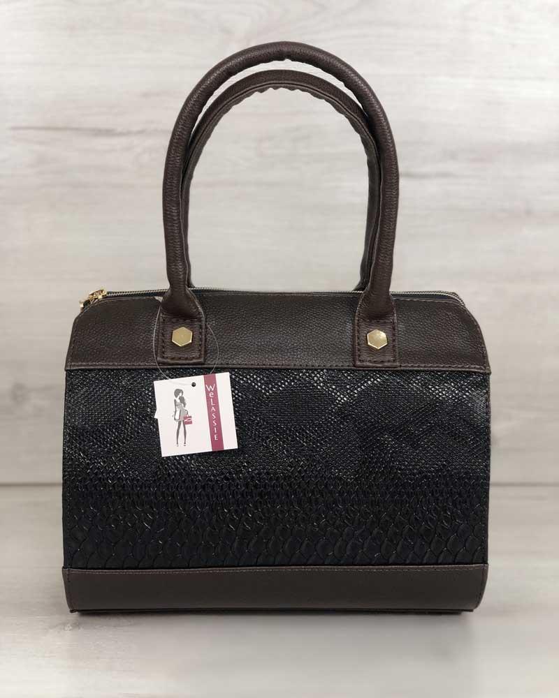 Женская каркасная повседневная сумка темно-коричневая шоколадного цвета на плечевом ремне