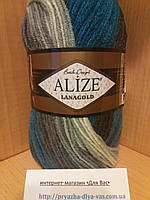 Полушерстяная пряжа (100г/240м, 49%-шерсть, 51%-акрил) Alize Lanagold Batik 4467