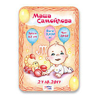 Метрика постер для новорожденных А4 формат Скорпион КОД: 663464
