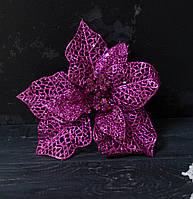 Головка пуансетии большой розовой ажур К6