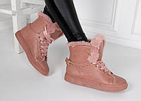 Зимние женские ботинки на шнурках и плоской подошве, фото 1