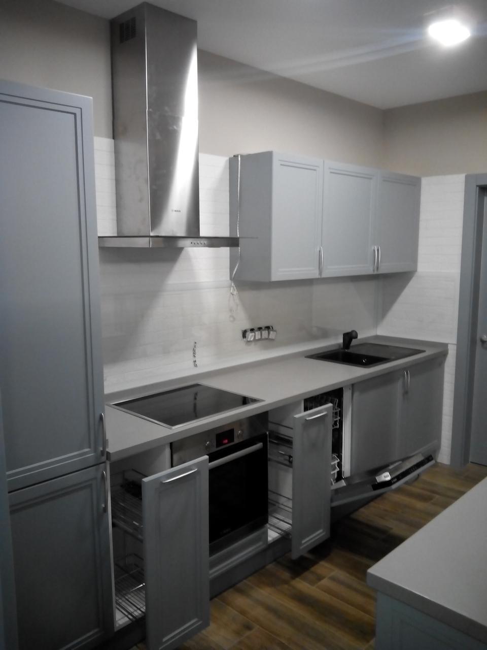 """Кухня """"Авеню"""", фасады МДФ серый матовый"""