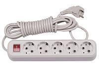 Сетевой-фильтр удлинитель Luxel 5 гнезд + 3 метра + заземление + кнопка 220В 10А 2200Вт