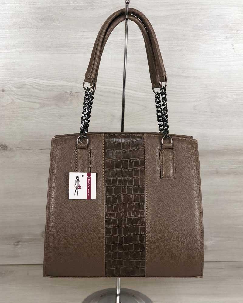 Каркасная женская сумка со вставкой крокодил