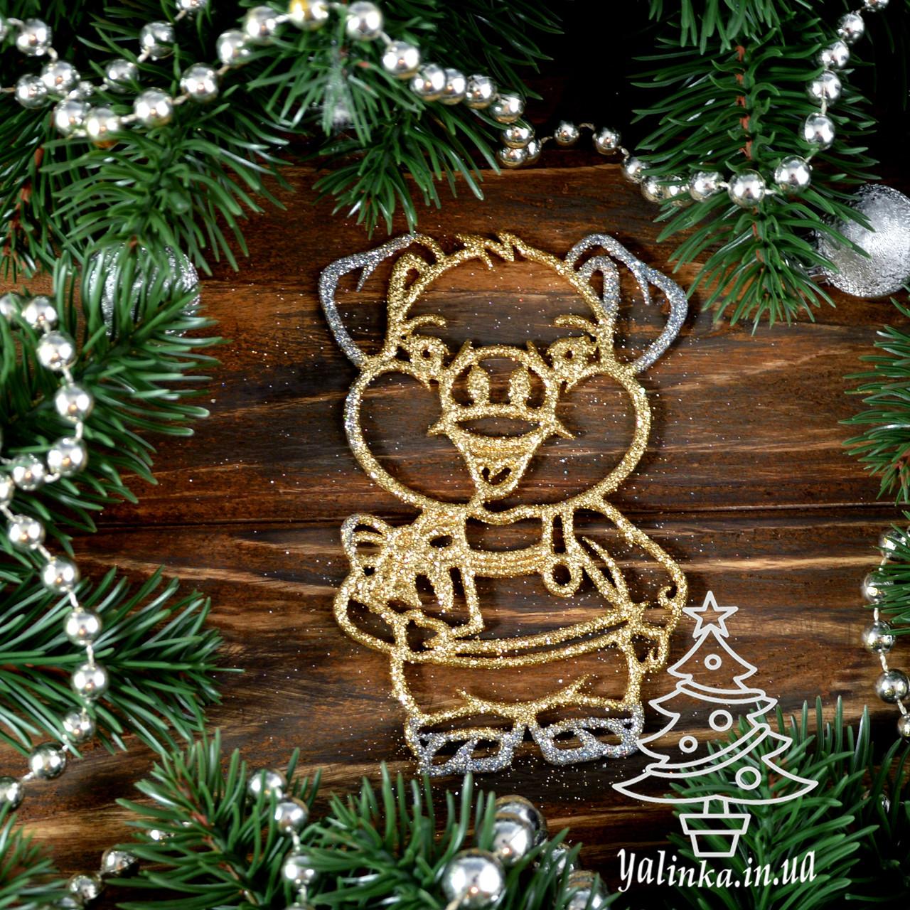 Новогодние украшение Поросенок с подарком 8 шт PIG004