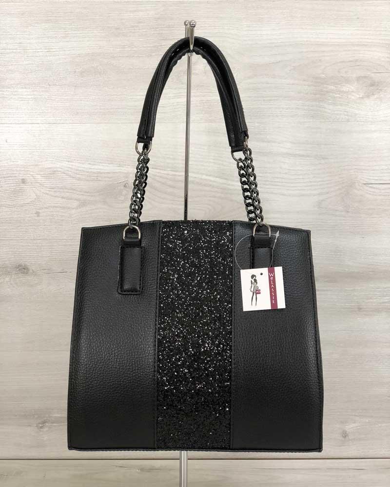 Каркасная женская сумка со вставкой блеск
