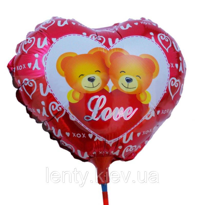 """Мини сердце на палочке из фольги  """"Love"""" с двумя мишками"""