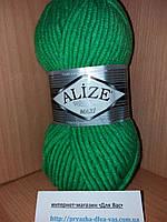 Зимняя пряжа (25% шерсть, 75% акрил; 100г/100м) Alize Superlana MAXI 551 (зелёный неон)