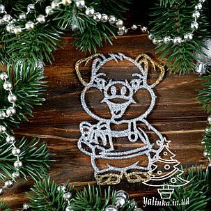 Новогодние украшение Поросенок с подарком 8 шт PIG004, фото 2