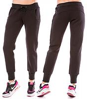 Теплые спортивные штаны женские на флисе зимние с начесом черные