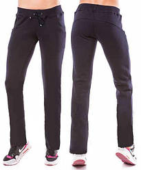 Теплые спортивные брюки женские на зиму на флисе с начесом прямые темно синие