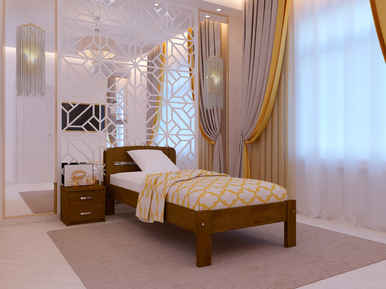 Ліжко односпальне з натурального дерева в спальню/дитячу Октавія С1(Бук)80*190 Неомеблі