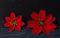 Цветок пуансетии велюр красная 9 см