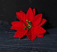 Цветок пуансетии велюр красная 6 см