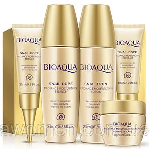 Мини набор Bioaqua из пяти средств по уходу за кожей с муцином улитки Snail Repair & Brightening