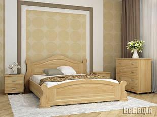 Ліжко двоспальне з натурального дерева в спальню Венеція, масив дерева Орбіта