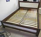 Ліжко півтораспальне з натурального дерева в спальню, дитячу Фортуна 140*200 (Дуб) АРТ меблі, фото 7