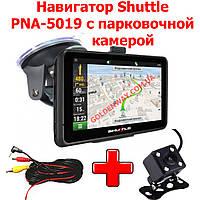 Автомобильный GPS навигатор Shuttle PNA-5028 экран 5 дюймов 8Гб и 256 ОЗУ видеовходом, с ПАРКОВОЧНОЙ КАМЕРОЙ