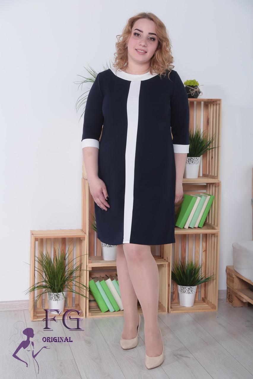 """Женское платье большого размера """"Таира"""" 48-54р. темно-синий, 52-54"""
