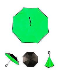 Ветрозащитный зонт обратного сложения UP-brella, АП брелла зонт с ветрозащитой умный зонт. Акция! Зеленый