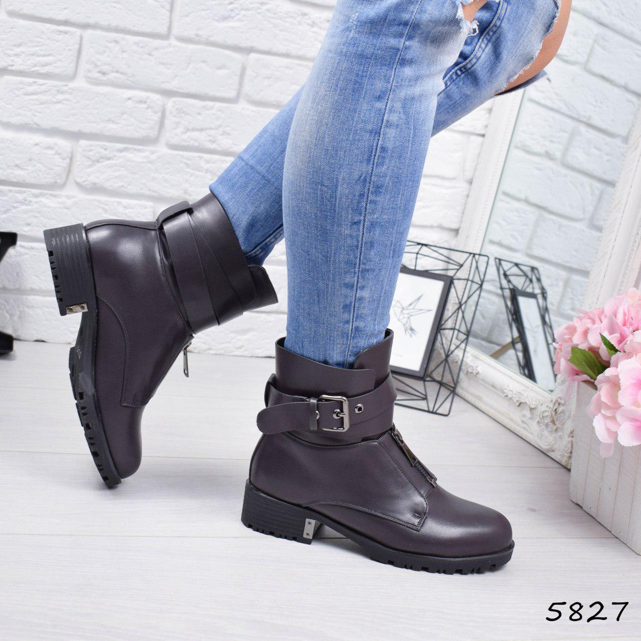 """Ботинки, ботильоны капучино ЗИМА """"Shirley"""" эко кожа, повседневная, зимняя, теплая, женская обувь"""