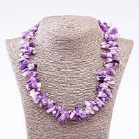 Ожерелье из натурального камня Аметист бусины кристаллы d-6х18 (+-)мм L-50см