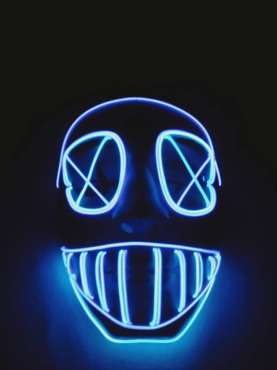 Светящаяся маска лицо (LED mask). Маска на Хэллоуин Глаза кресты. - Хороший подарок  в Киеве